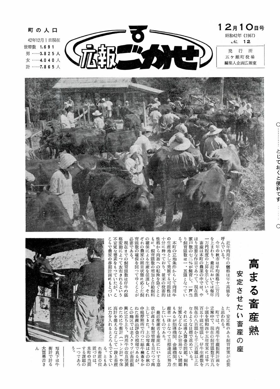 広報ごかせ No.12 1967年12月10日号の表紙画像