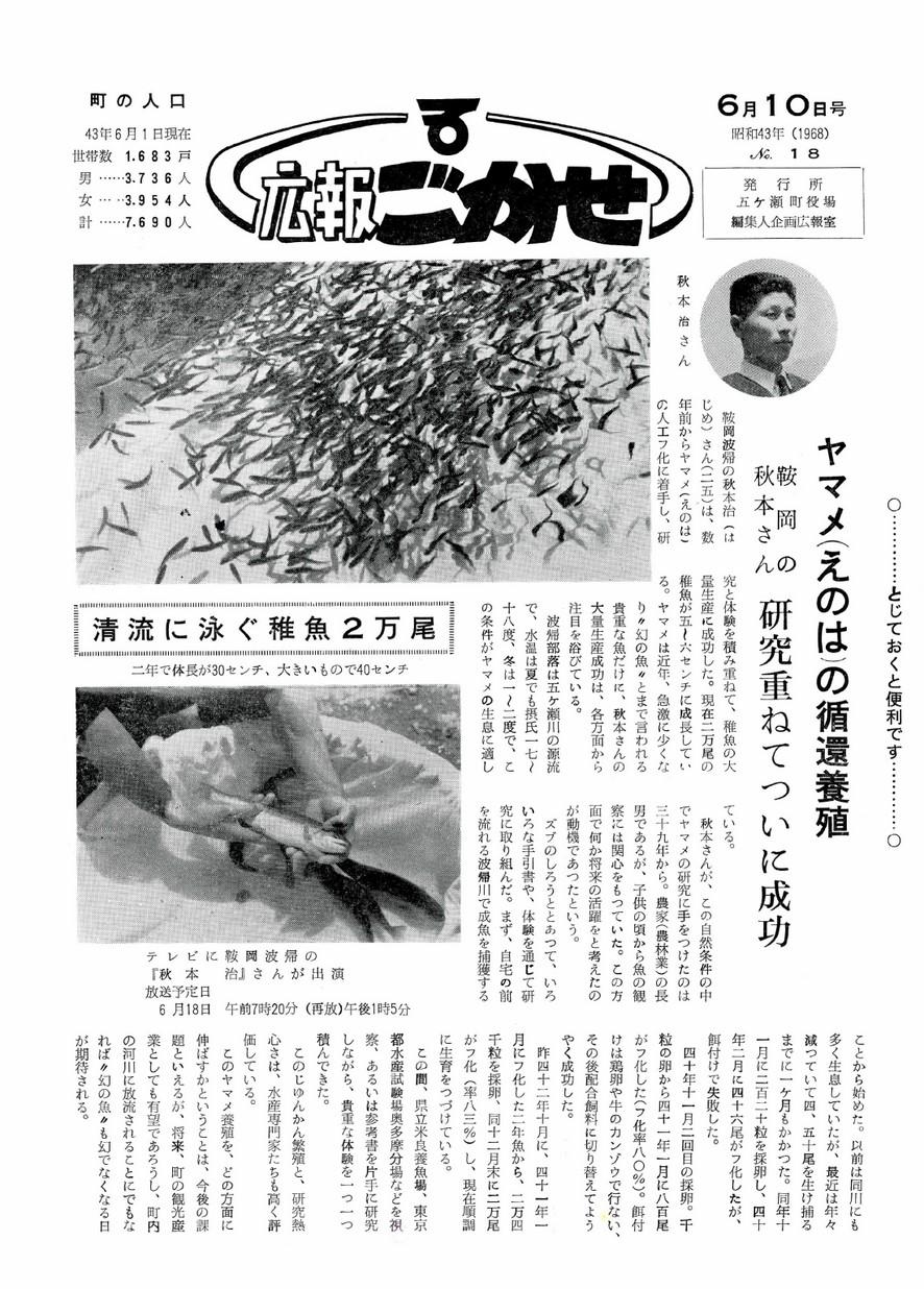 広報ごかせ No.18 1968年6月10日号の表紙画像