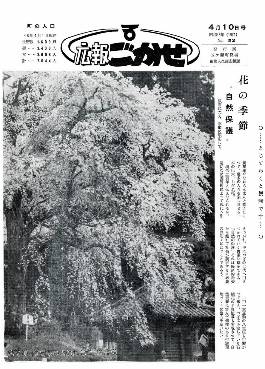 広報ごかせ No.52 1971年4月10日号の表紙画像