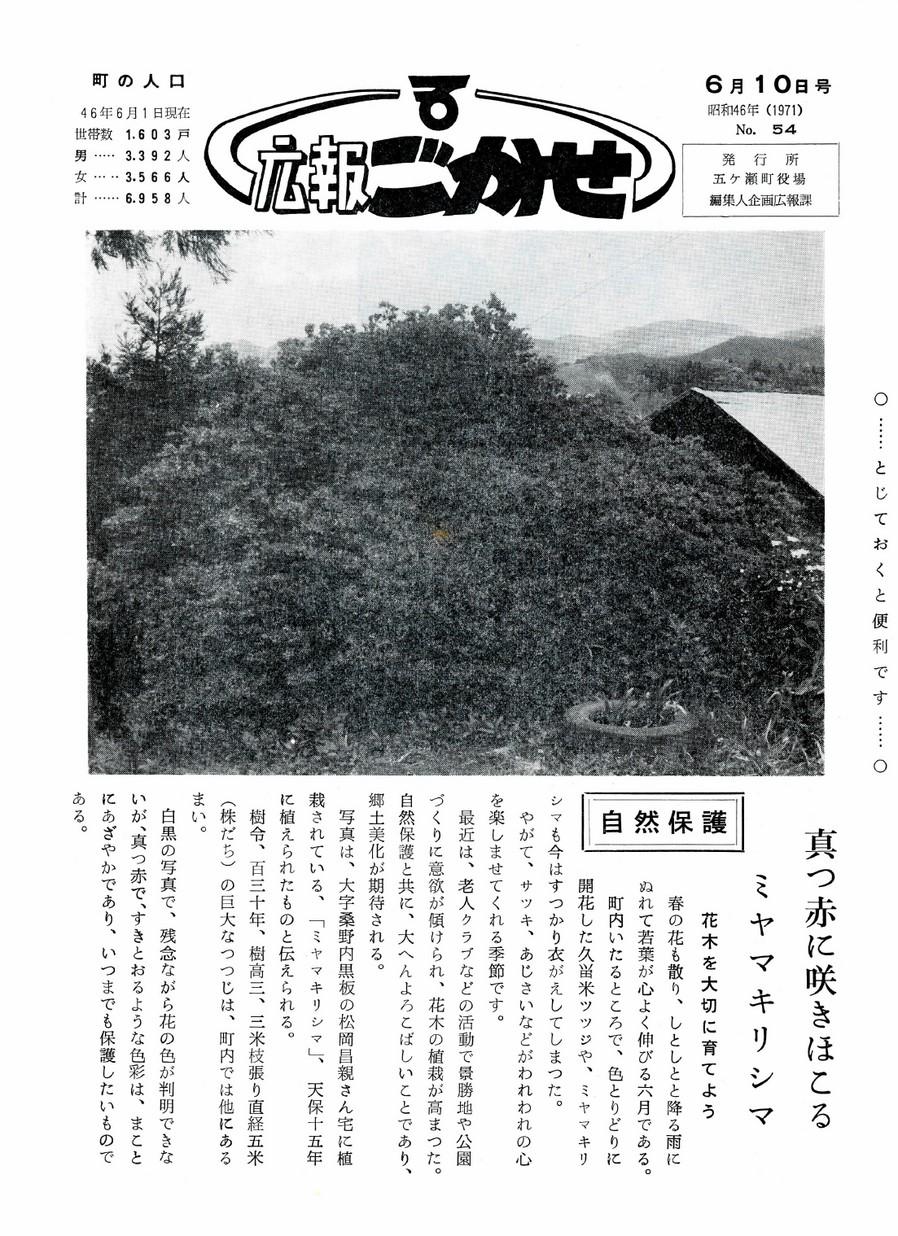 広報ごかせ No.54 1971年6月10日号の表紙画像