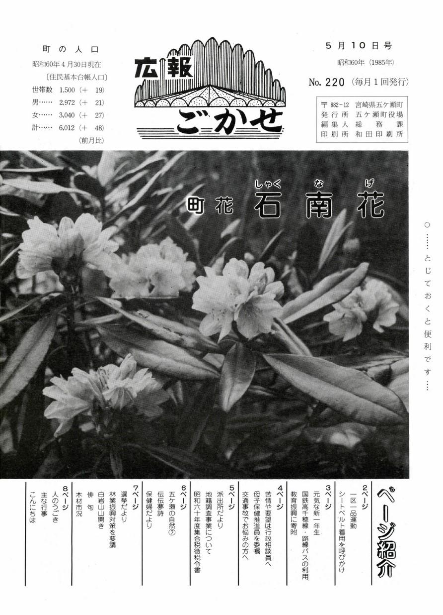 広報ごかせ No.220 1985年5月10日号の表紙画像