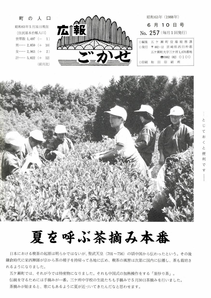広報ごかせ No.257 1988年6月10日号の表紙画像
